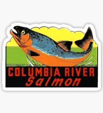 Columbia River Salmon Vintage Travel Decal Sticker