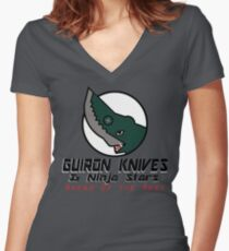 Guiron Knives & Ninja Stars Women's Fitted V-Neck T-Shirt