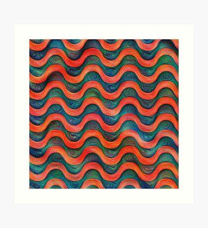 Frozen underwater liquid red waves #DeepDream #Art Art Print