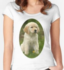 Cute Golden Retriever Puppy Women's Fitted Scoop T-Shirt