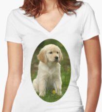 Cute Golden Retriever Puppy Women's Fitted V-Neck T-Shirt