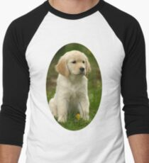 Cute Golden Retriever Puppy Men's Baseball ¾ T-Shirt