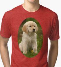 Cute Golden Retriever Puppy Tri-blend T-Shirt