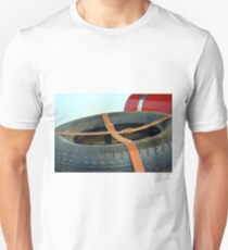 Spare car wheel with leather belt  Unisex T-Shirt