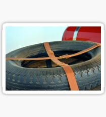 Spare car wheel with leather belt  Sticker