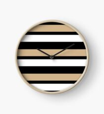 White Black and Gold Striped Clock