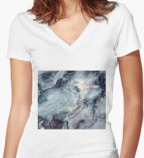 Blue marble Women's Fitted V-Neck T-Shirt