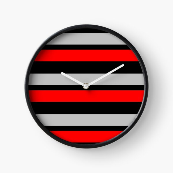 Black Silver and Red Horizontally-Striped Clock