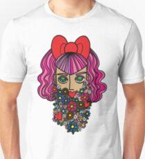 Flower bearded girl with bow Unisex T-Shirt