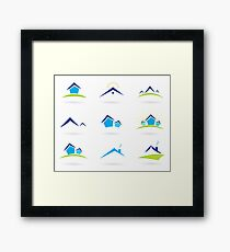 Hand-drawn cute Icons on white Framed Print
