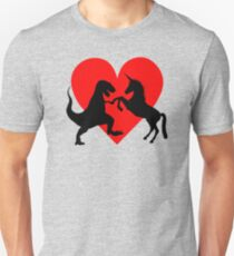 A Match made in Heaven - Dinosaur and Unicorn Love Unisex T-Shirt