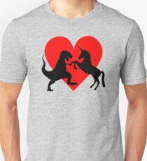 Ein Match im Himmel gemacht - Dinosaurier und Einhorn Liebe Slim Fit T-Shirt