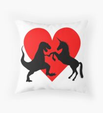 A Match made in Heaven - Dinosaur and Unicorn Love Throw Pillow