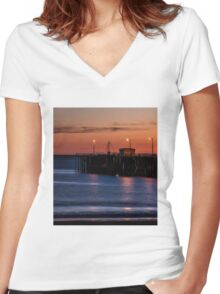 Beach Landscape Women's Fitted V-Neck T-Shirt