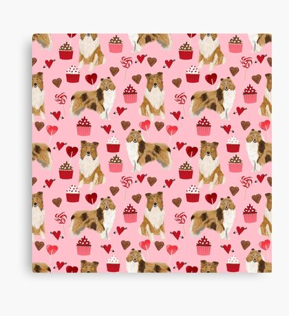 Rough Collie valentines day love cupcakes pattern dog breeds pet portraits for dog lover by PetFriendly Canvas Print