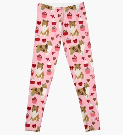 Rough Collie valentines day love cupcakes pattern dog breeds pet portraits for dog lover by PetFriendly Leggings