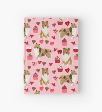 Rough Collie valentines day love cupcakes pattern dog breeds pet portraits for dog lover by PetFriendly Hardcover Journal