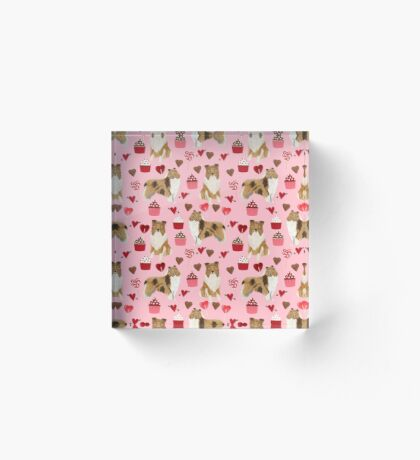 Rough Collie valentines day love cupcakes pattern dog breeds pet portraits for dog lover by PetFriendly Acrylic Block