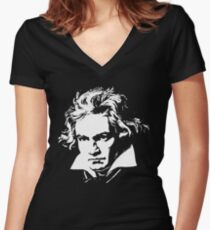 beethoven Women's Fitted V-Neck T-Shirt