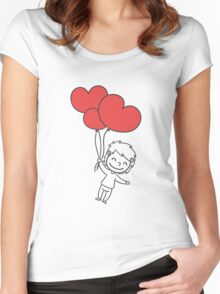 """Valentine´s Day """"Boy with Heart Balloon"""" Women's Fitted Scoop T-Shirt"""