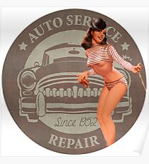 Vintage Auto Repair/Car Repair Pin Up Girl Poster