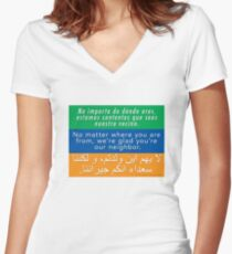 Welcome Your Neighbors (Arabic, English, Spanish) Women's Fitted V-Neck T-Shirt