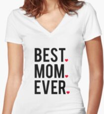 Best mom ever, word art, text design with red hearts  Women's Fitted V-Neck T-Shirt