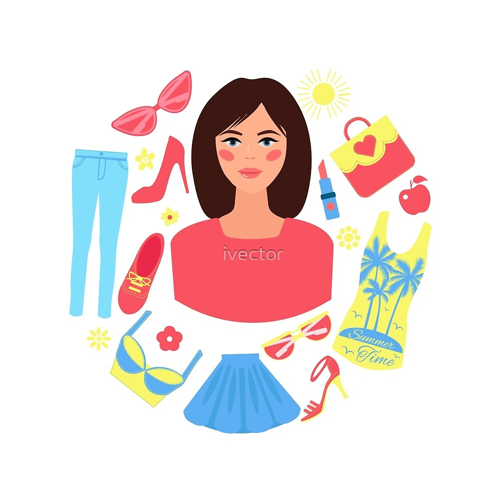 Shopping Summer in Flat Design with Woman by ivector
