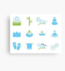 Hand-drawn cute wellness Icons Canvas Print