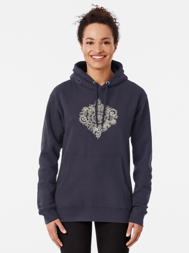 Alternate view of Cream Floral Moroccan Pattern on Deep Indigo Ink Pullover Hoodie