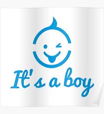 it's a boy design with cute face icon  Poster