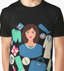 Shopping Winter in Flat Design with Woman Graphic T-Shirt