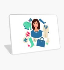 Shopping Winter in Flat Design with Woman Laptop Skin