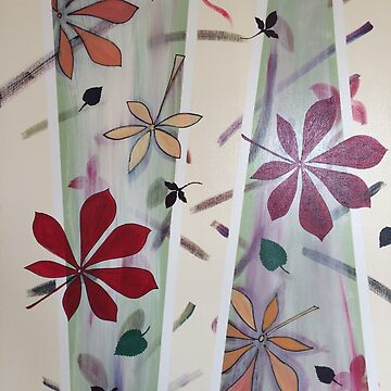 Conservatory Painting Red Leaves and Geometric Lines by jackiewills