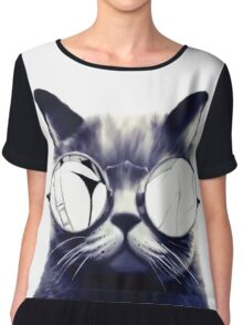 Vintage Cat Wearing Glasses Chiffon Top