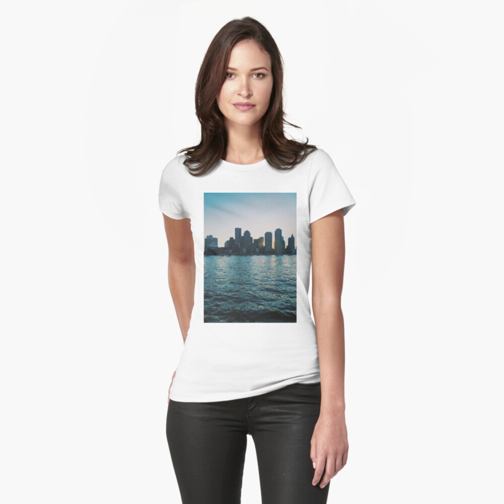 Sunset at harbour Womens T-Shirt Front