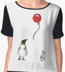 Penguins with Red Balloon Women's Chiffon Top