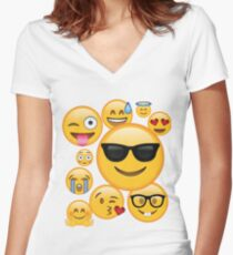 Emoji Pack ComboT-shirt Emoticon Smily Face Tshirt Women's Fitted V-Neck T-Shirt