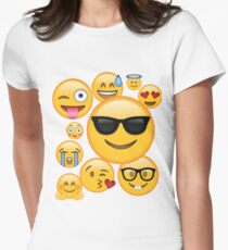 Emoji Pack ComboT-shirt Emoticon Smily Face Tshirt Women's Fitted T-Shirt