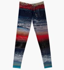 Alien Terrain (Fluid art on canvas) Leggings