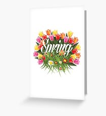 Spring tulips, grass and wildflower burst design Greeting Card