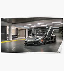 Matte Silver Aventador SV Poster
