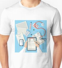 Doctor's Workplace. Medical Doctor Working in Clinic Unisex T-Shirt