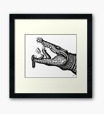Crocodile Reading surreal pen ink black and white drawing Framed Print