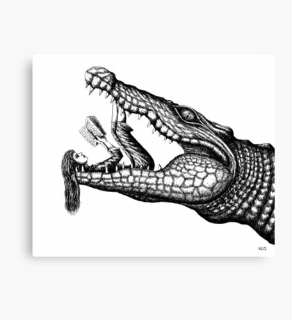 Crocodile Reading surreal pen ink black and white drawing Canvas Print