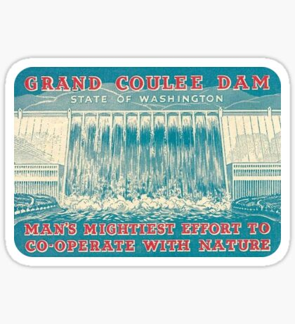 Grand Coulee Dam Washington Vintage Travel Decal Sticker