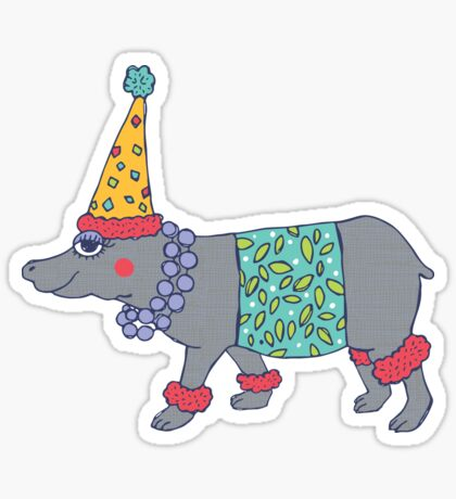 Party Hippo Sticker