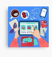 Online Mobile Shopping Concept in Flat Design Canvas Print