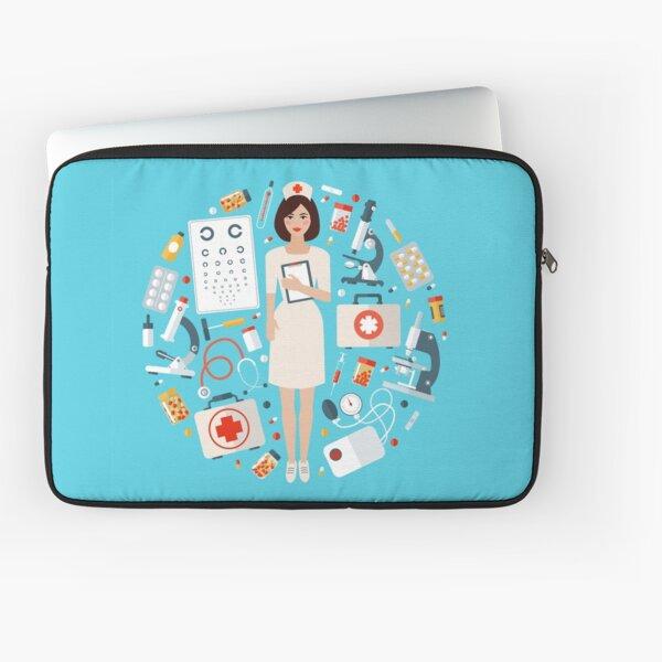 Nurse with Medical Icons Set. Health Care Stuff Laptop Sleeve