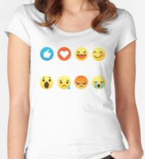 I Love Math Emoji Emoticon Funny Mathematics Graphic Tee Shirts Sarcastic Women's Fitted Scoop T-Shirt